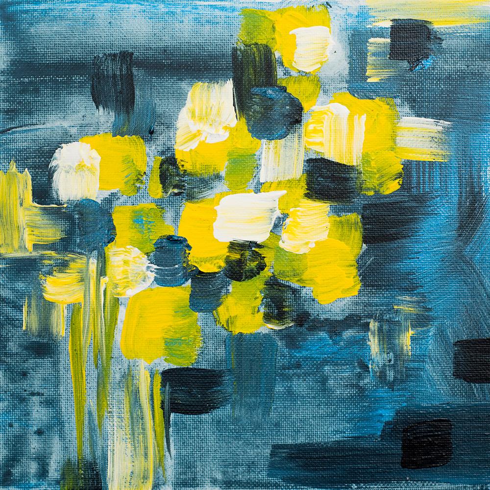 "Franziska Schwade - Daily Painting 150924/1 ""Polka Flowers"" Acrylics on canvas board 20x20 cm / 7.9x7.9 inch"