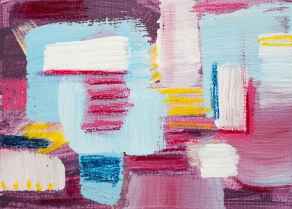 Dawn, 150925 / acrylics & oil pastel on canvas board / 18x13 cm / available 45 €