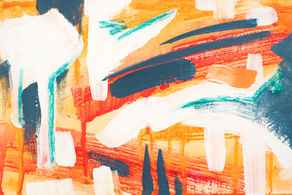 """Franziska Schwade - Daily Painting 150926/1 """"Explosion"""" Acrylics on canvas board & oil pastel 30x20 cm / 11.8x7.9 inch"""