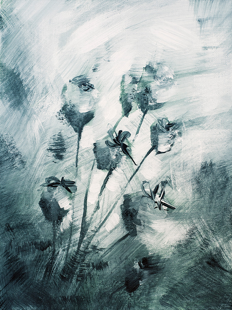 "Franziska Schwade - Daily Painting 150929 ""Ice Flowers"" Acrylics on canvas board 18x24 cm / 7x9.5 inch"