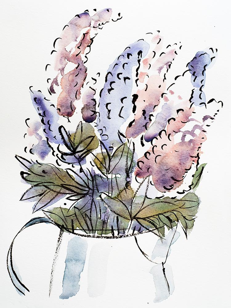 "Franziska Schwade - Watercolor Painting 151001 ""Lilacs"" Watercolor & ink (Pentel brush pen) on moleskine sketchbook paper. 20x30 cm / 7.9x11.8 inch"