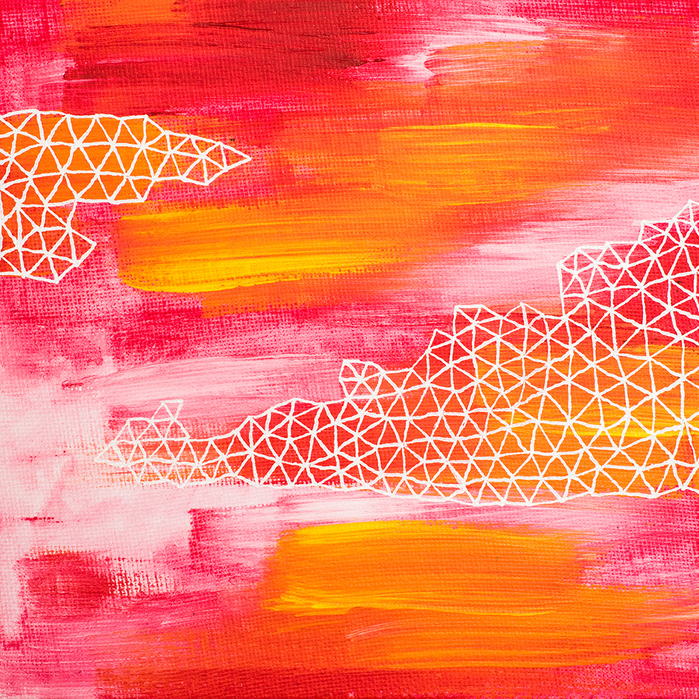 "Franziska Schwade - Daily Painting 151002/2 ""Pink Zen"" Acrylics & gloss paint marker on canvas board 15x15 cm / 5.9x5.9 inch"