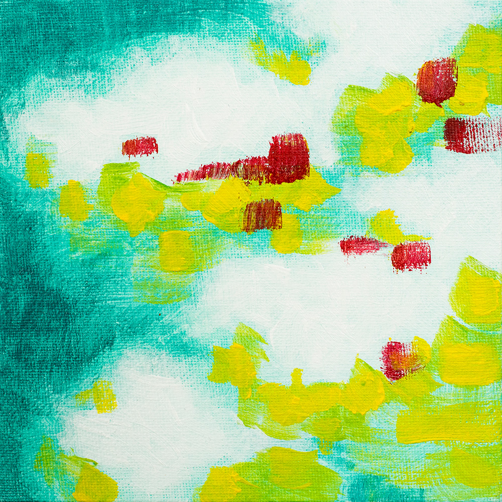 """Franziska Schwade - Daily Painting 151005 """"Turquoise Clouds"""" Acrylics on canvas board 15x15 cm / 5.9x5.9 inch"""