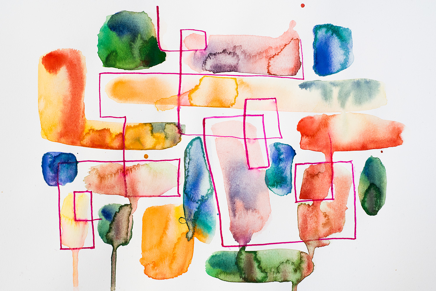"Franziska Schwade - Daily Painting 151008 ""Mosaic"" Watercolor on 125g/cm paper A4 size"