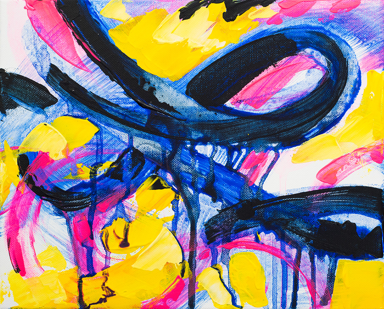 "Franziska Schwade - Daily Painting 151023 ""Neon Infinity"" Acrylics on stretched canvas 24x30 cm / 9.4x11.8 inch"