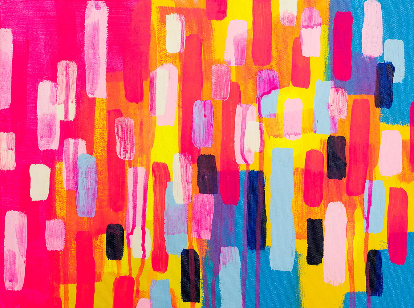 "Franziska Schwade - Daily Painting 151025 ""Neon Cities"" Acrylics on stretched canvas 40x30 cm / 15.7x11.8 inch"
