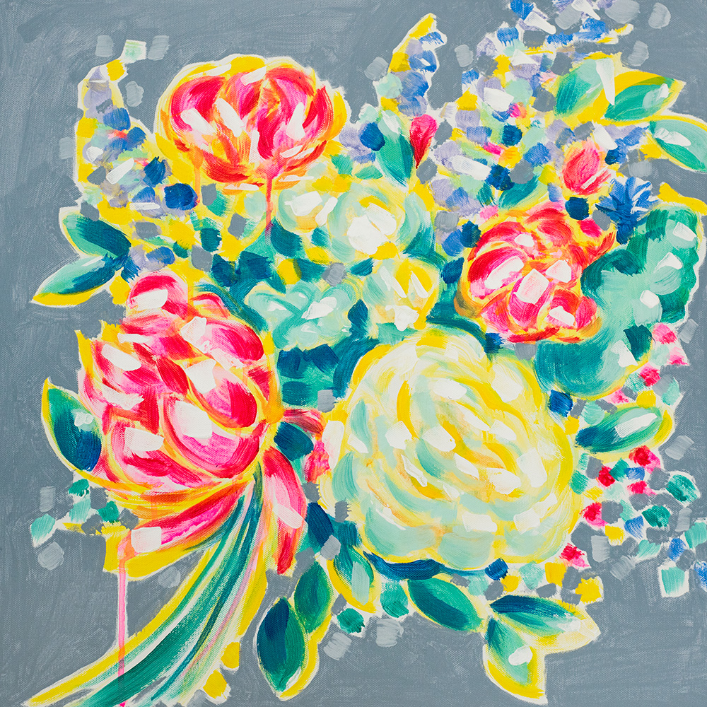 "Franziska Schwade - Daily Painting 151029 ""Cubistic Peony"" Acrylics on stretched canvas 50x50 cm / 19.7x19.7 inch"