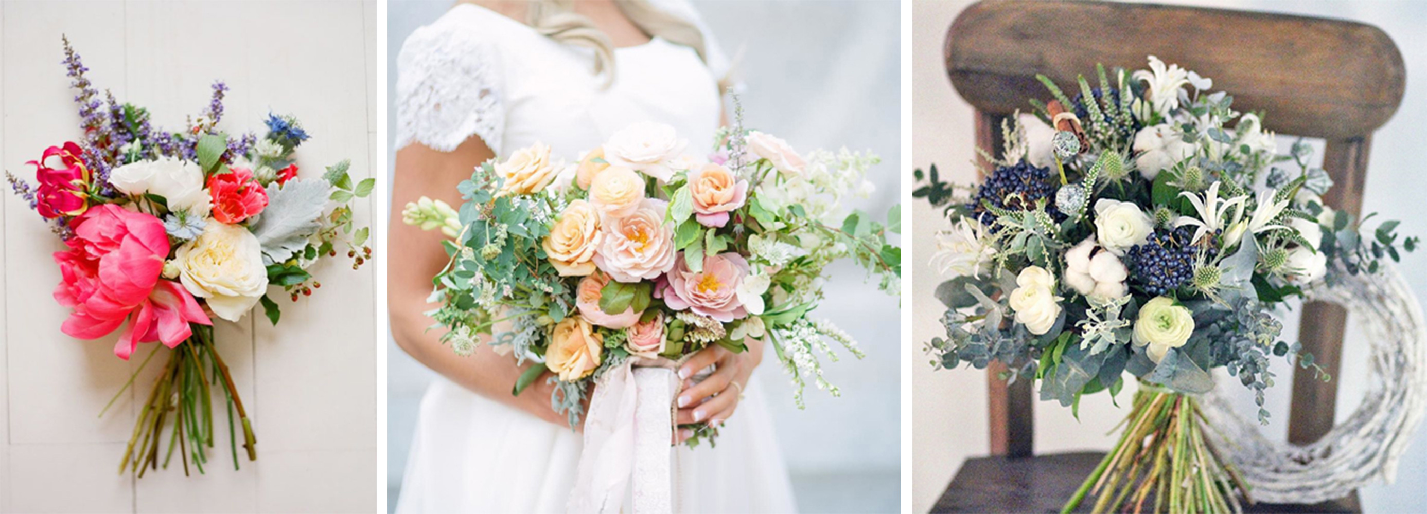 Flower inspiration by Amy Osaba (left),    Tinge Floral (middle) & Lera Nelipovich (right)