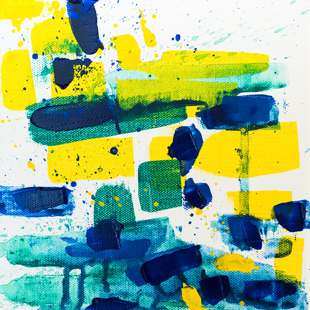 "Franziska Schwade - Daily Painting 151104 ""Underwater Games"" Acrylics on stretched canvas 20x20 cm / 7.9x7.9 inch"