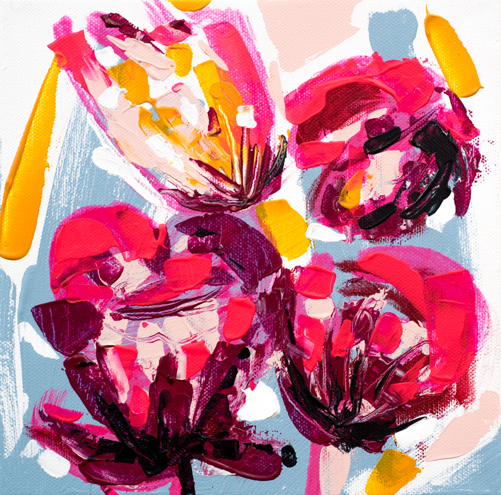 "Franziska Schwade - Daily Painting / 30in30 160105 ""Flower Explosion II"" Acrylics on stretched canvas 20x20 cm / 7.9x7.9 inch"